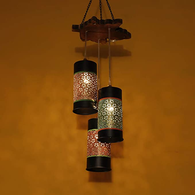 ExclusiveLane Cylindrical Chandelier With Metal Hanging Lamp Shades (3 Shades) -Chandeliers For Ceiling Hanging Lights Jhumar Lightning For Home Jhoomer For Ceiling Lamp Ceiling Lights Hanging For Living Room Pendant Light