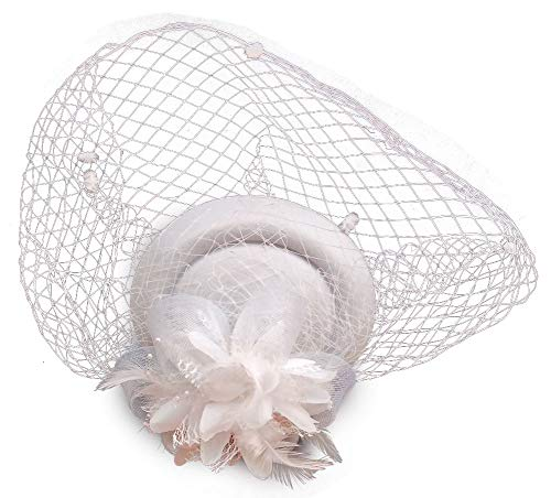Fascinator Hats Pillbox Hat British Bowler Hat Flower Veil Wedding Hat Tea Party Hat (White)]()