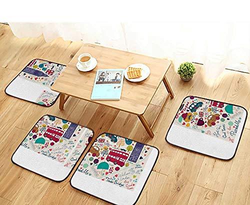 (Printsonne Elastic Cushions Chairs Symbols Busn Tea Umbrella Hat Retro Cab Fit in Heart for Living Rooms W29.5 x L29.5/4PCS Set)