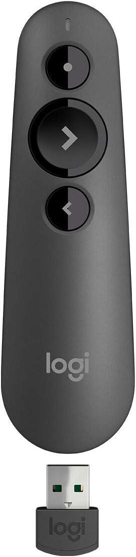 Logitech R500 Bluetooth y USB Laser Presenter / Presentation Clicker - Compatibilidad universal, rango de 20 m, personalizable, batería inteligente 12 meses de uso (reacondicionado)
