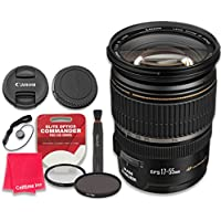 Canon EF-S 17–55mm f/2.8 IS USM Lens with Elite Optics Commander Pro HD Series Ultra-Violet Protector UV Filter & Circular Polarizer CPL Multi-Coated Filter - International Version