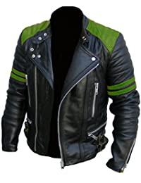 Men's Brando Classic Biker Red and Black Vintage Motorcycle Green Real Leather Jacket