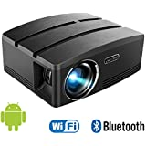 Aero Snail Android 6.0 LED Portable Projector (Warranty Included), Built-in WiFi Bluetooth, 220 Lux Lumens Support 1080P Multimedia Home Theater Video Projector, Laptop, Video Games&Smartphone