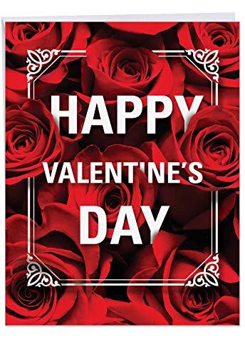 Flowers for Love' Happy Valentine's Day Greeting Card with Envelope Jumbo 8.5 x 11 Inch - Rose Flower Bouquet Stationery for Personalized Love Letter, V-Day Gift - Bed of Red Roses J3530VDG]()