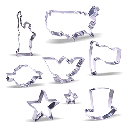3 Piece Cookie Cutter Set Flag American Eagle US Map Bake History Class Cookies!