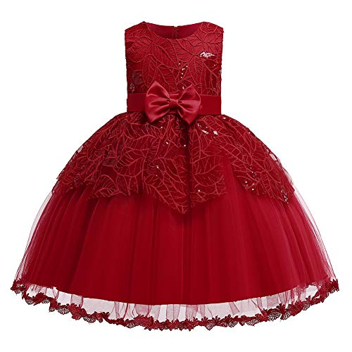 Girls Wedding Pageant Party Ruffles Red Dresses Baby Ball Gown Lace Dress with Bowknot(Deep Red120)
