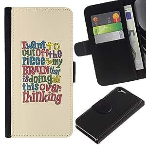 KLONGSHOP // Tirón de la caja Cartera de cuero con ranuras para tarjetas - Cita cerebro texto inteligente - Apple Iphone 6 //