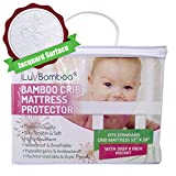 iLuvBamboo Crib Mattress Pad Protector - Waterproof Cover - Silky Soft Bamboo Jacquard Fitted Topper - Noiseless, Breathable & Hypoallergenic – Best Baby Gifts for Potty Training Toddlers & Infants