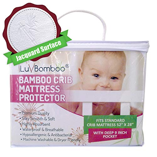 iLuvBamboo Crib Mattress Protector - Waterproof Pad Cover - Silky Soft Bamboo Jacquard Fitted Topper - Hypoallergenic & Antibacterial - Best Baby Gifts for Infants and Toddlers by I LUV BAMBOO