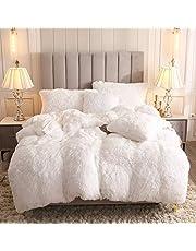 Uhamho Faux Fur Velvet Fluffy Bedding Duvet Cover Set Down Comforter Quilt Cover with Pillow Shams, Ultra Soft Warm and Durable