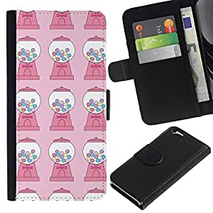iKiki Tech / Cartera Funda Carcasa - Candy Bubble Gum Machine Pink Pattern - Apple iPhone 6