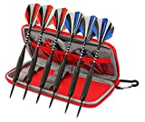 6 Pack Steel Tip Darts with Aluminium Shafts | 12 PVC Flights | Dart Case by ...