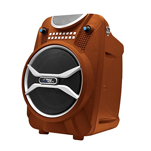 Wireless Portable PA Speaker System - 200 W Battery Powered Rechargeable Sound Speaker and Microphone Set with Bluetooth MP3 USB Micro SD FM Radio AUX - For Outdoor DJ Party - Pyle PWMAB210OR (Orange)