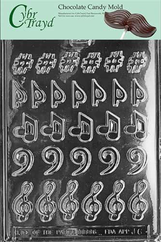 Cybrtrayd J006 Music, Music, Music Chocolate Candy Mold with Exclusive Cybrtrayd Copyrighted Chocolate Molding Instructions