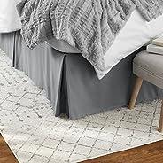 AmazonBasics Falda de cama plisada, Plisado, Gris oscuro, King