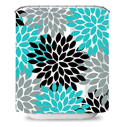 Payanwin Dahlia Floral Print Waterproof Fabric Polyester Shower Curtain 72x72 inches,Teal Black Grey (Shower Curtain Teal Grey)