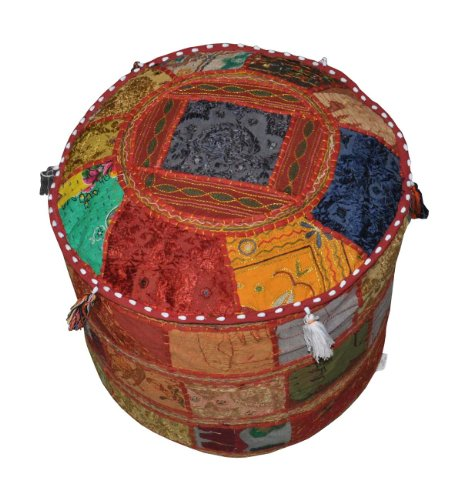 (Traditional Decorative Ottoman Comfortable Floor Cushion Foot Stool Embellished With Embroidery & Patchwork, 18 X 13 Inches)