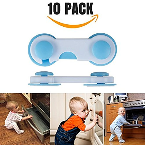 Blue 10/pieces Drawers Children more Easy to Install Function Clasp with 3/M Sticker Do Not Require Tool hualans/® Safety Locks Wardrobe