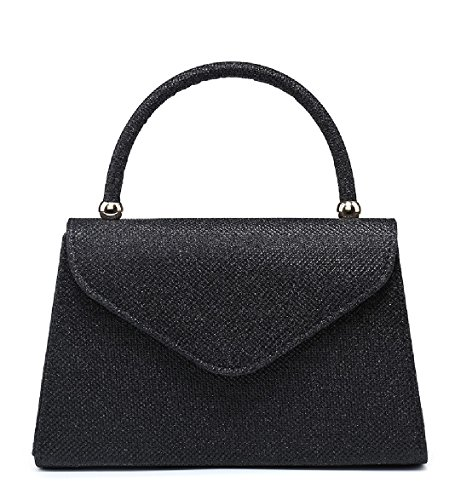 Party Handle Bag Black MA35007 Handbag Top Evening EAMUK Glittery Clutch Glitter Ladies Women's pXtxnqwzn