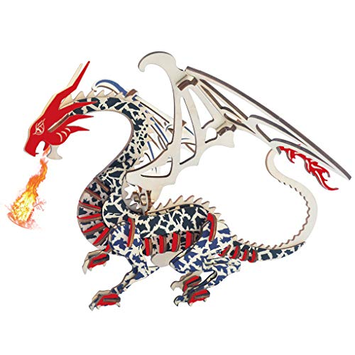 Bitopbi 3D Wooden Puzzles Laser Engraving DIY Safe Assembly Constructor Kit Toy for Kids Teens and Adults World Animal Mechanical 3-D Models for Self-Assembly (G1 Flying Dragon)