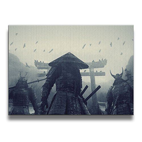 Martoo Art Japanese Samurai Framed  Paintings Artwork On Canvas For Home Decorations Living Room Wall Art