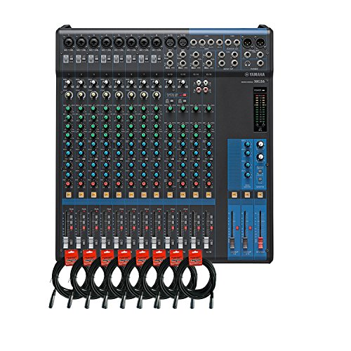 Yamaha MG16 16-channel Analog Mixer Bundle with 10 Microphone Preamps, 4 Dedicated Stereo Line Channels, 4 Aux Sends, EQ, and 1-knob Compressors with 8 Pack of Mixer Cables -