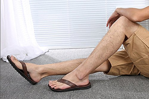 BININBOX Mens Summer Beach Flip Flops Soft Slippers Shoes Sandals Anti-Slip Brown qIrzb