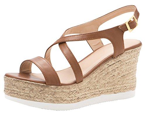 Cambridge Select Women's Open Toe Crisscross Strappy Slingback Espadrille Platform Wedge Sandal (8 B(M) US, Tan) (Espadrille Wedge Sandals Platform)