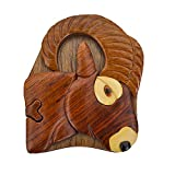 Handmade Wooden Art Intarsia TRICK SECRET RAM Big horn sheep Puzzle Trinket Box (3379) (g2)