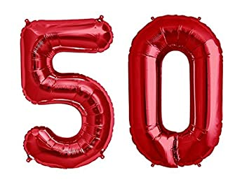 C Spin 40 INCH Big Large 50 Red Number Foil Balloon 40quot 50th Birthday