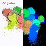11 Colors Glow in The Dark Pigment Powder for Art & Crafts, Multi-Coloured Particles Luminous Powders