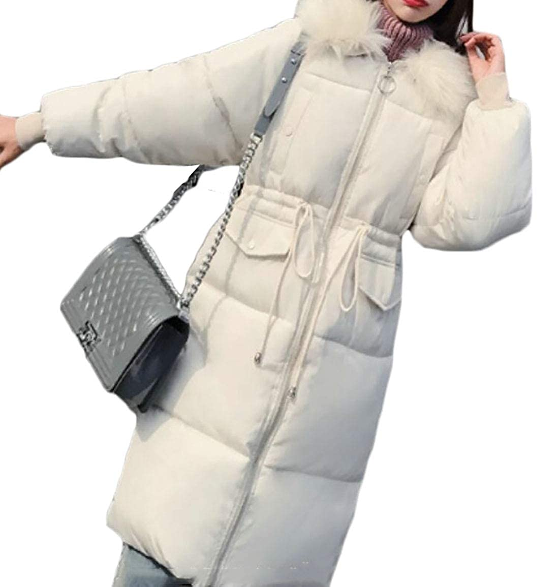 1 Keaac Womens Warm Down Coat Faux Fur Hooded Parka Puffer Jackets Long Overcoat