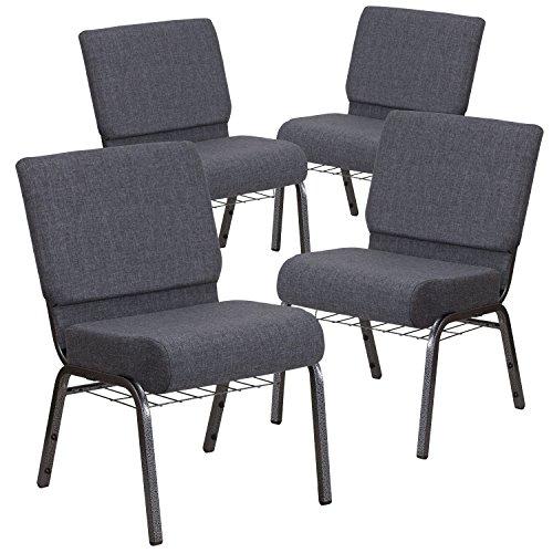 Flash Furniture 4 Pk. HERCULES Series 21''W Church Chair in Dark Gray Fabric with Book Rack - Silver Vein Frame by Flash Furniture