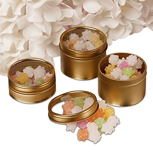 24ea - 8 Oz Gold Window Shallow Tin Can-Pkg by Paper Mart (Image #1)