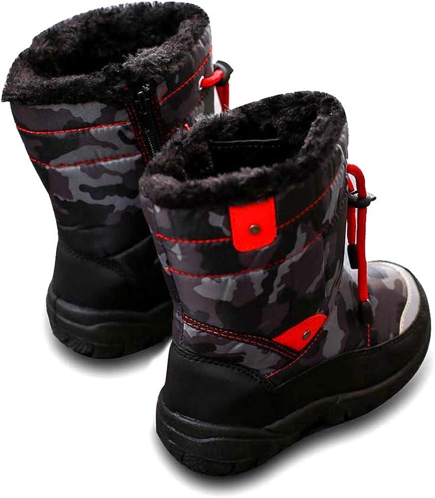 SITAILE Girls Snow Boots Waterproof Cartoon Printed Zipper Fur Winter Shoes Toddler//Little Kid//Big Kid