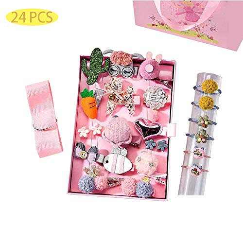 Eyelashes DanceBaby Girls Hair Clips Cute Bows Accessories Kits Elastic Hair Ties Hairpins Set with Gift Box For Baby Girls Teens Toddlers, Assorted styles ?24-72 pcs, Pink, Small