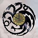 House Targaryen Game of Thrones vinyl wall clock - handmade artwork home bedroom living kids room nursery wall decor great gifts idea for birthday, wedding, anniversary - customize your (Gold/Black)