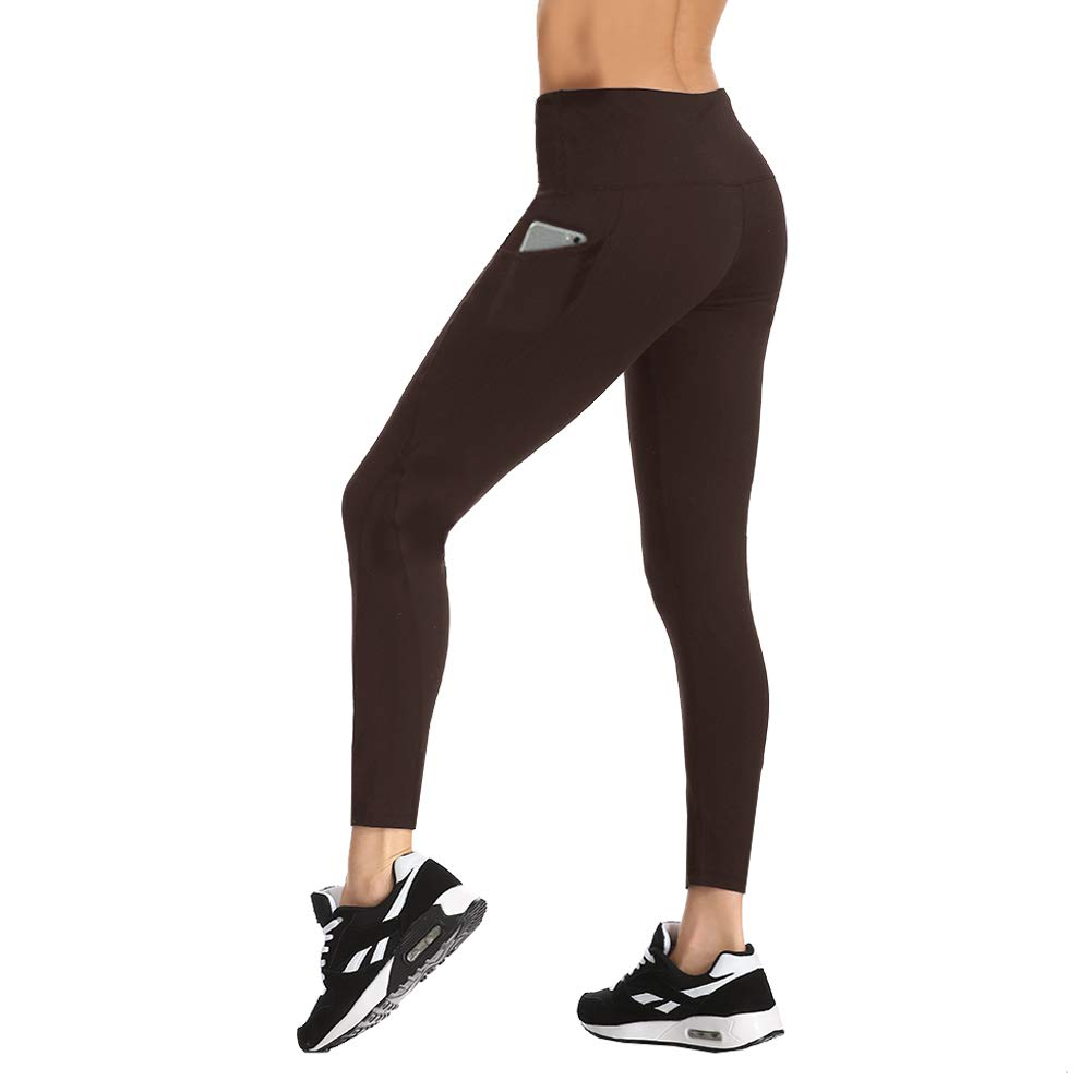 HLTPRO High Waist Yoga Pants - Tummy Control Non See-Through Yoga Leggings with Pockets for Workout, Running (Brown, Large)
