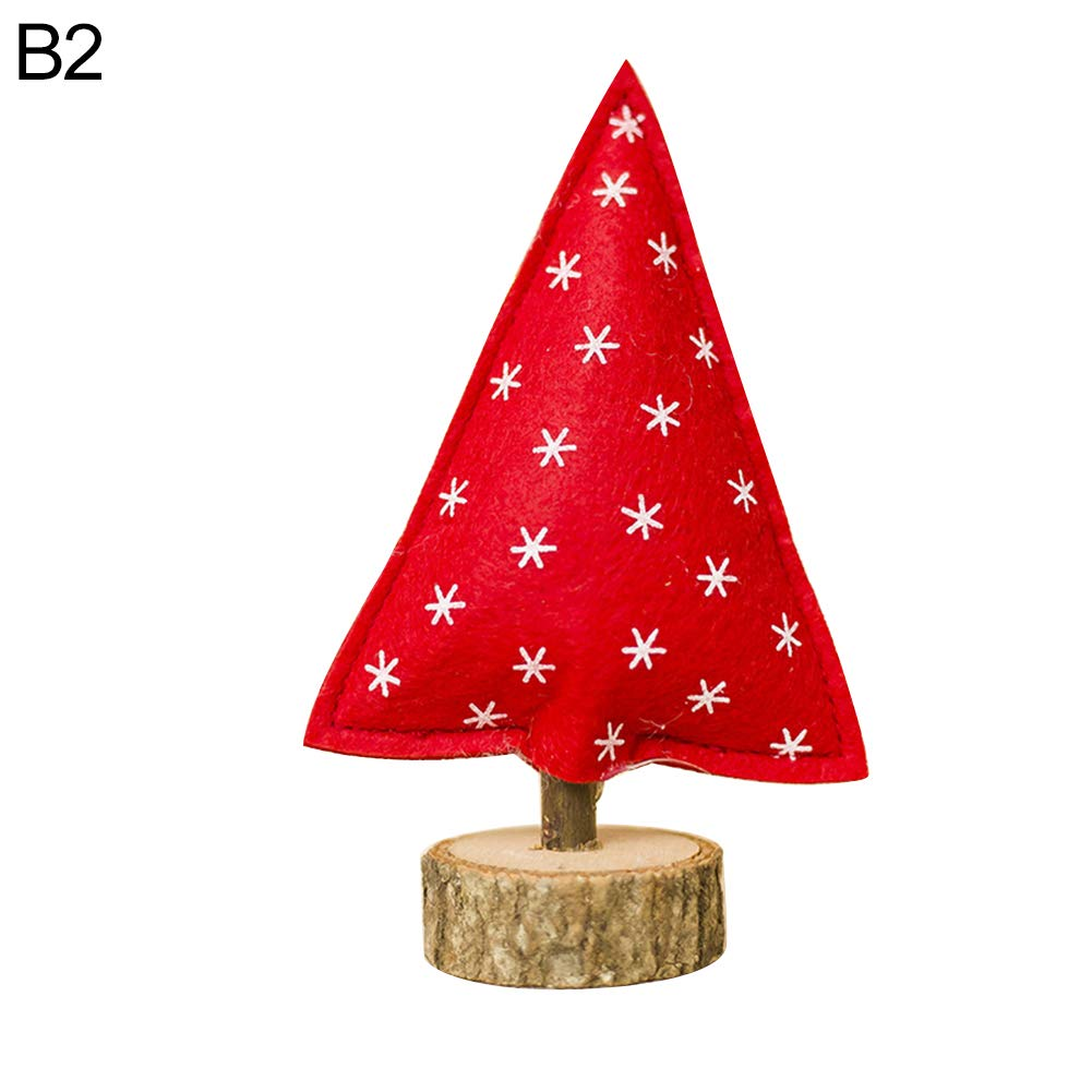 Gaweb Mini Christmas Tree Stripe Dot Wooden Home Party Decoration Ornament Kids Toy B2