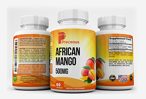 African Mango 500mg Capsules, Non-GMO Formula Natural Effective Weight Loss Supplement