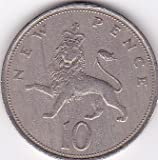 1971 Great Britain 10 New Pence Coin