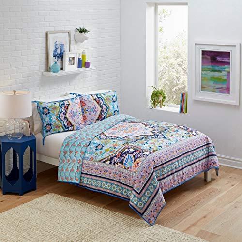 3 Piece Blue Coral Lime Vintage Ceramic Tiles Comforter Full Queen Set, Multi Color Bohemian Themed Floral Moroccan Mandala Medallion Pattern, Reversible Scallop Design Adult Bedding Bedroom, Cotton