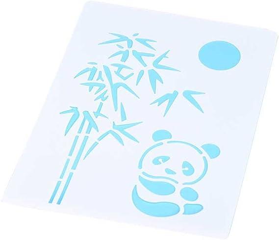 hestio Panda y bambú DIY álbum adhesiva aerosol pintado plantilla ...