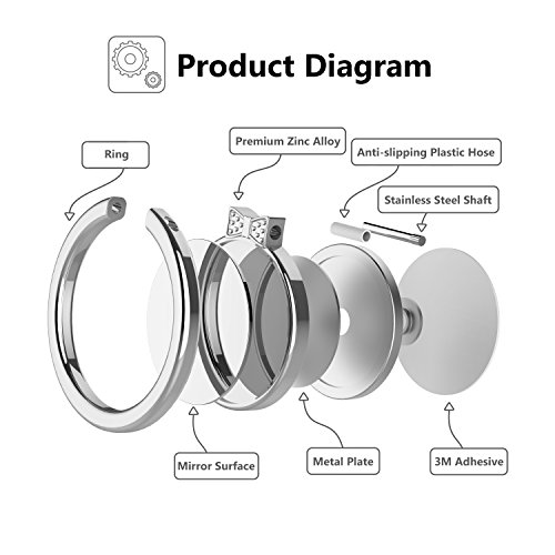 ICHECKEY-MIRROR-SERIES-Multifunctional-Cell-Phone-Ring-Stand-Holder-360-Rotation-Finger-Grip-Ring-Universal-Stand-for-Mobile-Phone-Bowknot-Silver