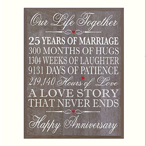 LifeSong Milestones 25th Wedding Anniversary Wall Plaque Gifts for Couple, 25th for Her,25th Wedding for Him 12