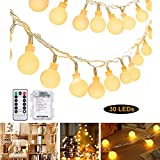 Gluckluz String Lights Fairy Lighting Outdoor Battery Operated Decoration Lamp with Remote Control Globe Bulb for Indoor Home Garden Party Birthday Festival Wedding (30 LED, Warm)