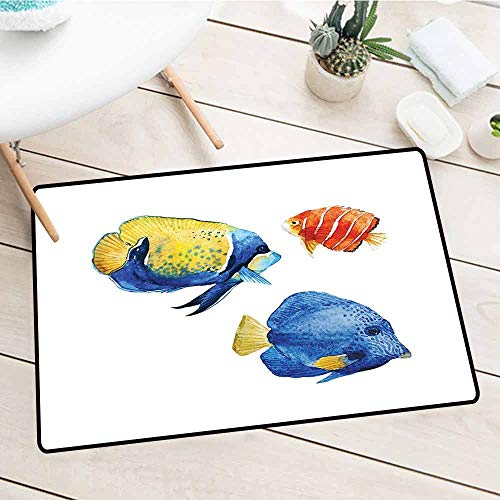 - Low Profile Inside Floor Mats, Fish, Tropical Aquarium Life Discus Fish and Goldfish in Different Patterns, Azure Blue Yellow Scarlet, 31