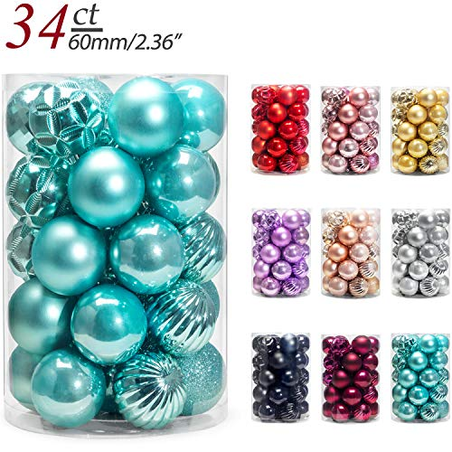 AMS 2.36''/34ct Christmas Ball Mini Ornaments Party Decoration Shatterproof Festival Widgets Pendant Hanging (60mm, Light Blue) (Christmas Tiffany)