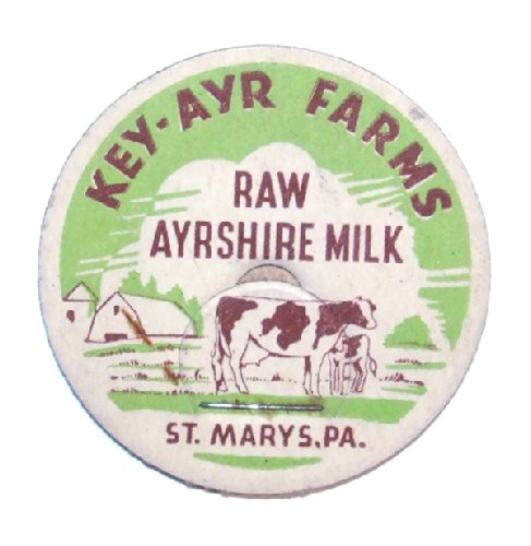 Vintage Unused Cardboard Milk Bottle Cap Key-Ayr Farms - St. Marys, PA