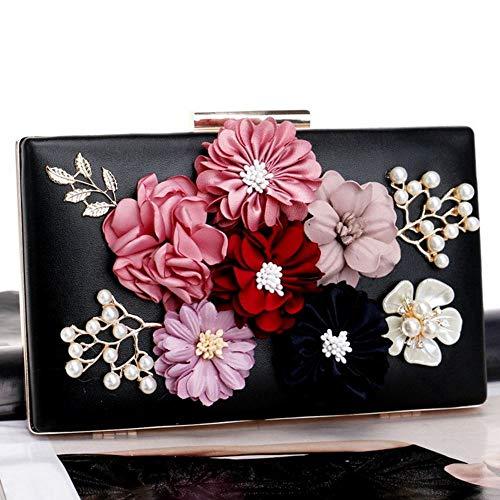 Embrayage Zanpa d'enveloppe femmes de Noir fleurs 8aA0qa
